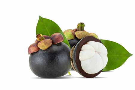 Fresh mangosteen fruit whole and half with leaves on white background