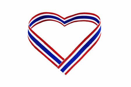 Heart-shaped Thai national color ribbon on white background