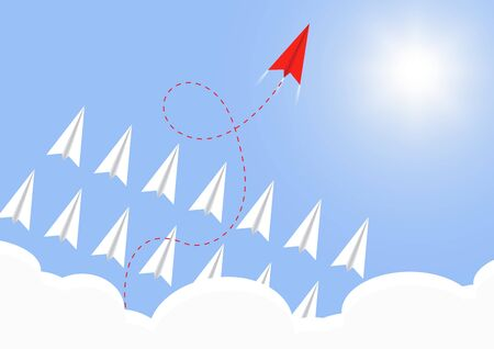 Paper airplane flying above cloud with  red  airplane ahead, business competition leadership ambitious successful goal concept vector illustration