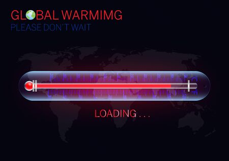 Rising temperature thermometer on world map, global warming environmental concept vector illustration