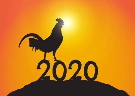 Silhouette of chicken standing on year 2020 on sunrise background vector illustration 일러스트