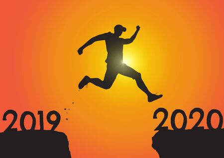 Silhouette of man jumping from 2019 to 2020 on sunrise background, successful new year concept vector illustration