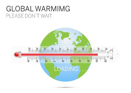 Thermometer with earth, global warming environmental concept vector illustration