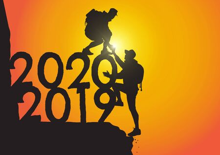 Silhouette of two men climbing from year 2019 to 2020 on sunrise background, successful teamwork passing through the year concept vector illustration