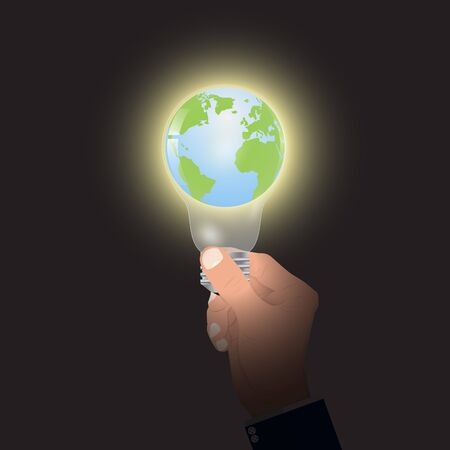 Hand holding lightbulb with globe inside, energy saving environmental concept vector illustration