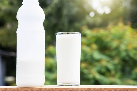 Bottle and glass of fresh milk on wooden table on blurred green nature background