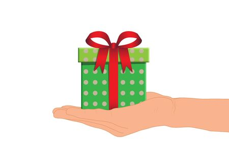 Hand giving green gift box with red ribbon vector illustration
