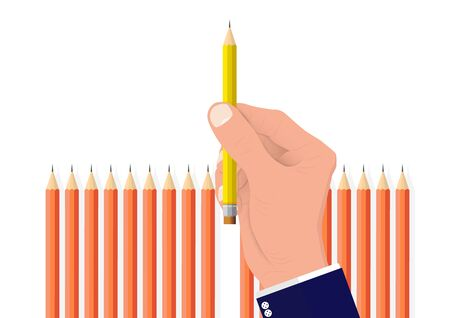 Hand picking one different pencil from the others, business concept of planning choosing the right target and resource vector illustration