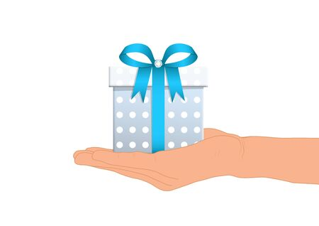 Hand giving luxury blue gift box vector illustration