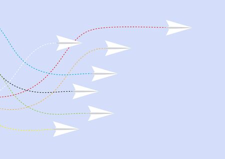Paper airplane competition with one airplane ahead, business competition leadership ambitious successful goal concept vector illustration 일러스트