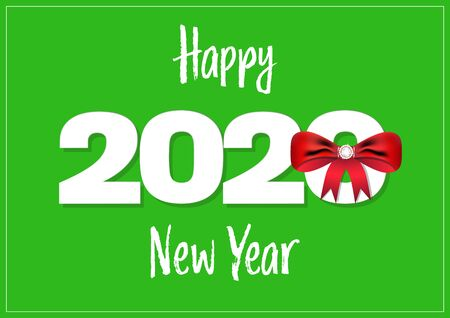 Happy New Year 2020 white on green background with red bow vector illustration