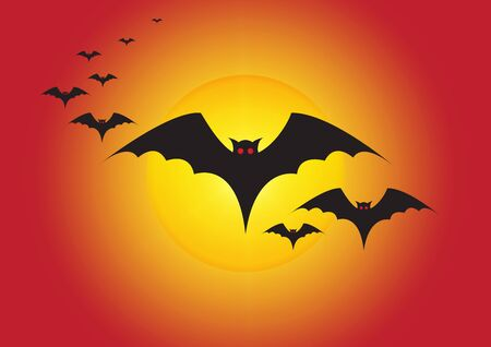 Silhouette of flying bloody bats and full moon, halloween background vector illustration