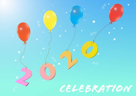 Flying colorful balloons with year 2020 on blue background, happy new year concept vector illustration