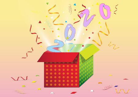 Exploding gift box with confetti, Happy new year concept vector illustration