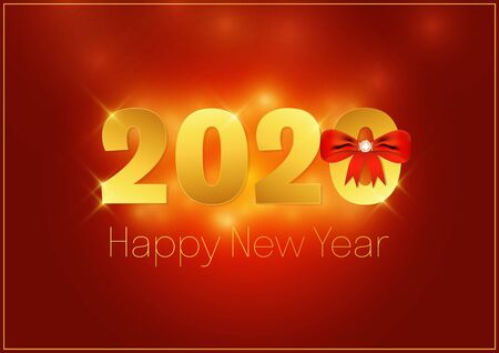 Happy New Year 2020 gold on red background  vector illustration 일러스트