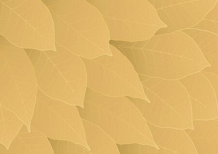 Gold leaves texture abstract background vector illustration