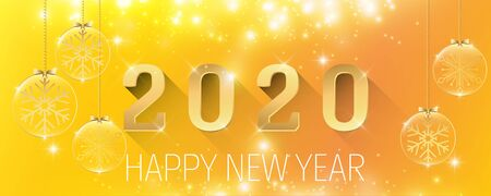 Happy New Year 2020 glitter sparkling golden background with Christmas glass ball vector illustration panorama 일러스트