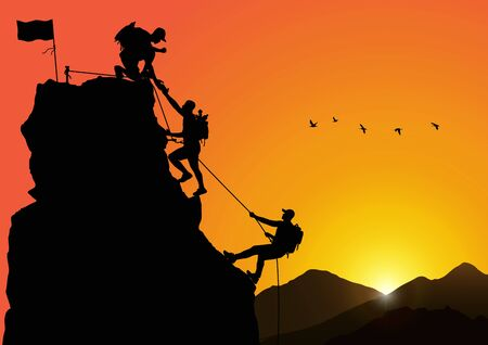 Silhouette of three men climbing mountain by helping each other on sunrise background, successful teamwork concept vector illustration