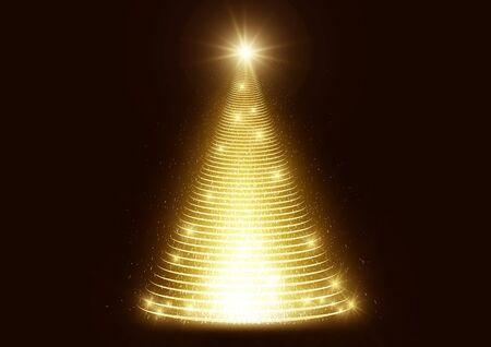 Beleuchteter Lichtschein glänzender Glitter Weihnachtsbaum auf dunkler Hintergrundvektorillustration