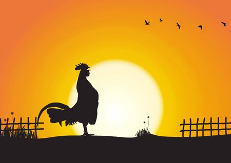 Silhouette of chicken crowing on sunrise background vector illustration