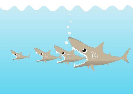Big shark fish eating small shark, big fish eats small fish business concept vector illustration