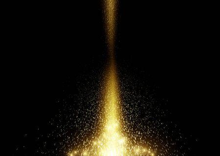 Fallender Goldglitter funkeln Staubpartikel Lichtstrahl auf schwarzer Hintergrundvektorillustration