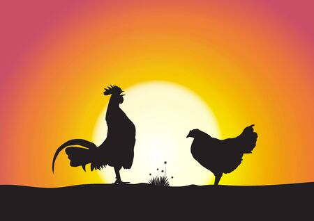 Silhouette of rooster and hen on sweet sunrise background vector illustration Ilustracja