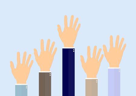 Raising hands of business man vector illustration