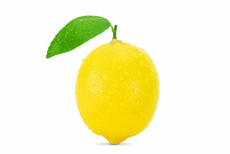 Lemon with leaves and water drops isolated on white background with clipping path