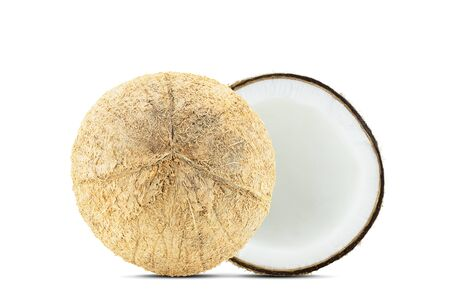 Fresh coconut half and whole isolated on white background