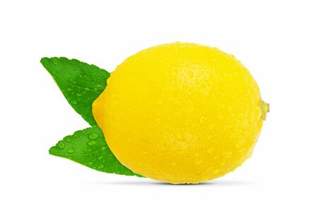 Lemon with leaves and water drops isolated on white background