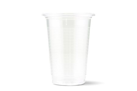 Empty disposal plastic drinking glass isolated on white background