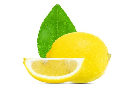 Fresh whole and sliced lemon with leaf and water drops isolated on white background