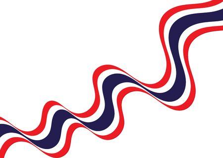 Waving Thai national flag ribbon vector illustration