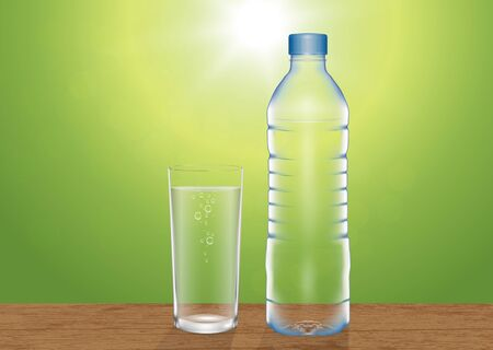 Fresh glass of drinking water and drinking bottle on wooden tabletop on blurred green nature bokeh background vector illustration