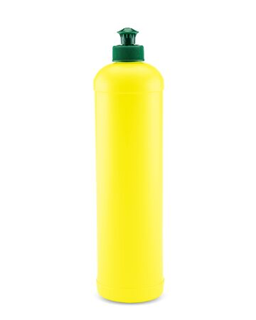 Yellow plastic bottle with push and pull cap on white background