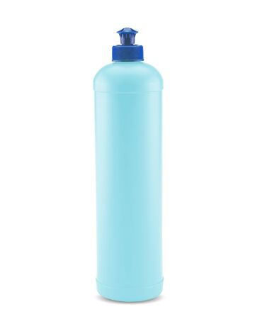 Blue plastic bottle with push and pull cap on white background