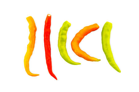 Fresh green,orange and red chili pepper isolated on white background