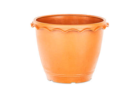Empty brown plastic flower pot isolated on white background Stock fotó