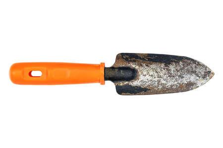 Old rusty grunge metal gardening shovel isolated on white background