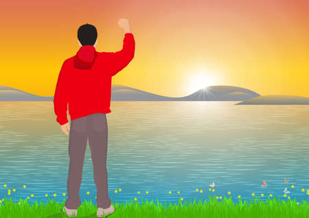 Man standing with cheerful with fist raised up beside the lake with sunrise background, success, achievement and winning concept vector illustration Stock fotó - 153962408