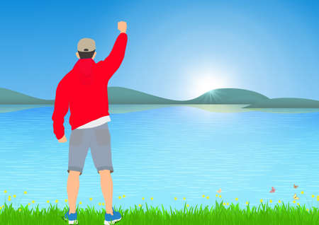 Man standing with cheerful with fists raised up beside the lake with sunrise background, success, achievement and winning concept vector illustration Vettoriali