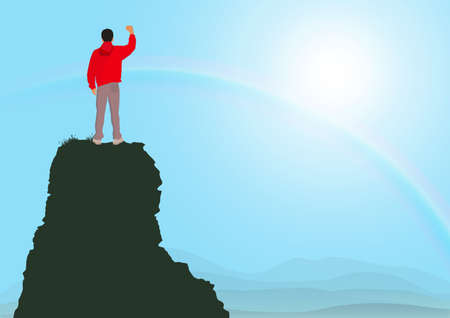 Man standing on top of the mountain with fists raised up on sunrise with rainbow background, success, achievement and winning concept vector illustration Stock fotó - 154309866