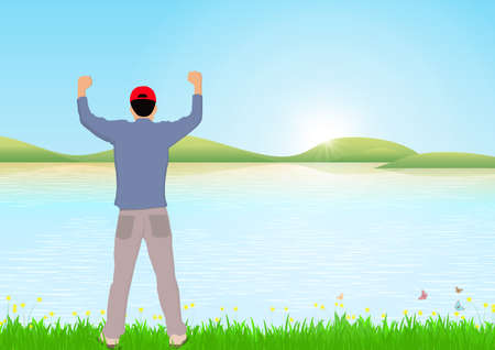 Man standing with cheerful with fists raised up beside the lake with sunrise background, success, achievement and winning concept vector illustration Stock fotó - 153962620