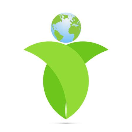 Green leaves holding earth, environmental ecology concept vector illustration Standard-Bild - 154011859