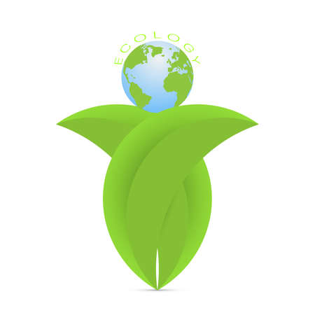 Green leaves holding earth, environmental ecology concept vector illustration Stock fotó - 154011452