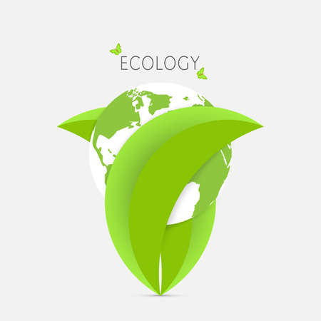 Green leaves holding earth, environmental ecology concept vector illustration