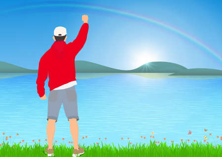 Man standing with cheerful with fists raised up beside the lake with sunrise with rainbow background, success, achievement and winning concept vector illustration Illustration