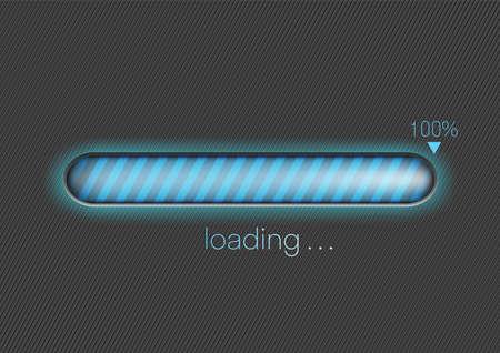 Modern blue progress loading bar 100% vector illustration, technology concept