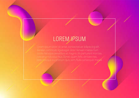 3d neon color abstract geomatric bubble shapes background for landing page template vector illustration Stock fotó - 155309928